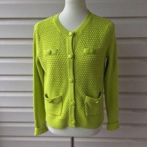 CAbi Loren Cardigan Sweater Lime Green Glow Stick